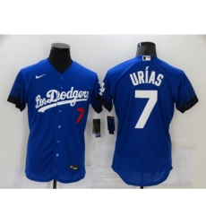 Men's Nike Los Angeles Dodgers #7 Julio Urias Blue Elite City Player Jersey
