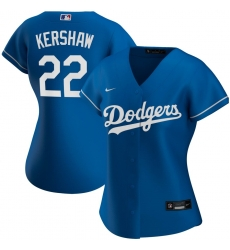 Los Angeles Dodgers 22 Clayton Kershaw Nike Women Alternate 2020 MLB Player Jersey Royal