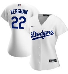 Los Angeles Dodgers 22 Clayton Kershaw Nike Women Home 2020 MLB Player Jersey White