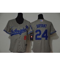 Los Angeles Dodgers 8 24 Kobe Bryant Women Nike Grey Cool Base 2020 KB Patch MLB Jersey
