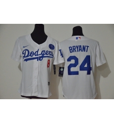 Los Angeles Dodgers 8 24 Kobe Bryant Women Nike White Cool Base 2020 KB Patch MLB Jersey