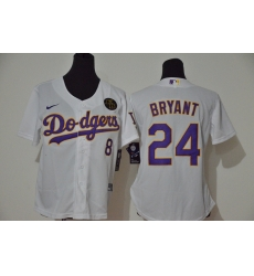 Los Angeles Dodgers 8 24 Kobe Bryant Women Nike White Purple No  Cool Base 2020 KB Patch MLB Jersey