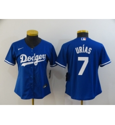 Women Los Angeles Dodgers 7 Julio Urias Royal Women 2020 Nike Cool Base Jersey