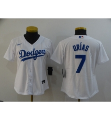 Women Los Angeles Dodgers 7 Julio Urias White Women 2020 Nike Cool Base Jersey