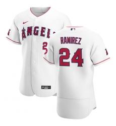 Men Los Angeles Angels 24 Noe Ramirez Men Nike White Home 2020 Flex Base Player MLB Jersey