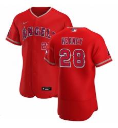 Men Los Angeles Angels 28 Andrew Heaney Men Nike Red Alternate 2020 Flex Base Player MLB Jersey