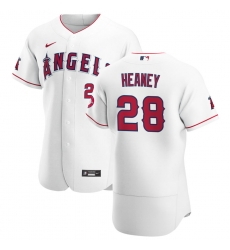 Men Los Angeles Angels 28 Andrew Heaney Men Nike White Home 2020 Flex Base Player MLB Jersey