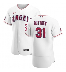 Men Los Angeles Angels 31 Ty Buttrey Men Nike White Home 2020 Flex Base Player MLB Jersey