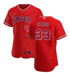 Men Los Angeles Angels 33 Max Stassi Men Nike Red Alternate 2020 Flex Base Player MLB Jersey
