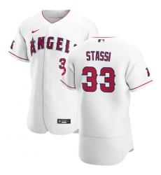 Men Los Angeles Angels 33 Max Stassi Men Nike White Home 2020 Flex Base Player MLB Jersey
