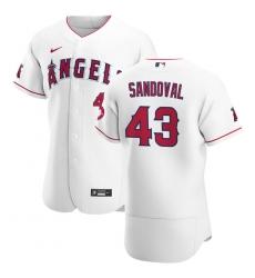 Men Los Angeles Angels 43 Patrick Sandoval Men Nike White Home 2020 Flex Base Player MLB Jersey