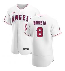 Men Los Angeles Angels 8 Franklin Barreto Men Nike White Home 2020 Flex Base Player MLB Jersey
