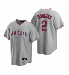 Mens Nike Los Angeles Angels 2 Andrelton Simmons Gray Road Stitched Baseball Jerse