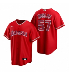 Mens Nike Los Angeles Angels 57 Hansel Robles Red Alternate Stitched Baseball Jersey