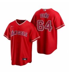 Mens Nike Los Angeles Angels 64 Felix Pena Red Alternate Stitched Baseball Jersey