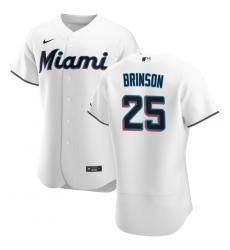 Men Miami Marlins 25 Lewis Brinson Men Nike White Home 2020 Flex Base Player MLB Jersey