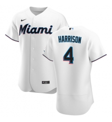 Men Miami Marlins 4 Monte Harrison Men Nike White Home 2020 Flex Base Player MLB Jersey