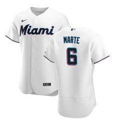 Men Miami Marlins 6 Starling Marte Men Nike White Home 2020 Flex Base Player MLB Jersey