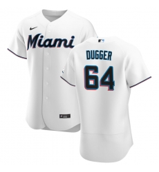 Men Miami Marlins 64 Robert Dugger Men Nike White Home 2020 Flex Base Player MLB Jersey
