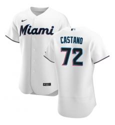 Men Miami Marlins 72 Daniel Castano Men Nike White Home 2020 Flex Base Player MLB Jersey