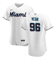 Men Miami Marlins 96 Alex Vesia Men Nike White Home 2020 Flex Base Player MLB Jersey