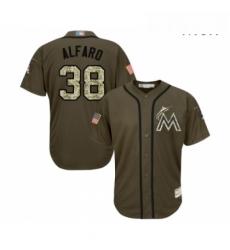 Mens Miami Marlins 38 Jorge Alfaro Authentic Green Salute to Service Baseball Jersey