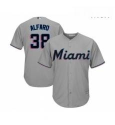 Mens Miami Marlins 38 Jorge Alfaro Replica Grey Road Cool Base Baseball Jersey