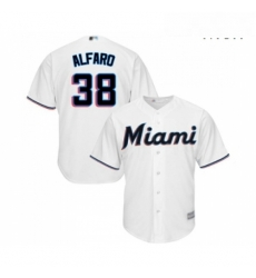 Mens Miami Marlins 38 Jorge Alfaro Replica White Home Cool Base Baseball Jersey
