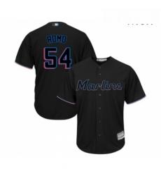 Mens Miami Marlins 54 Sergio Romo Replica Black Alternate 2 Cool Base Baseball Jersey