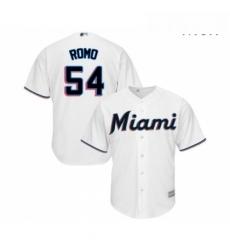 Mens Miami Marlins 54 Sergio Romo Replica White Home Cool Base Baseball Jersey