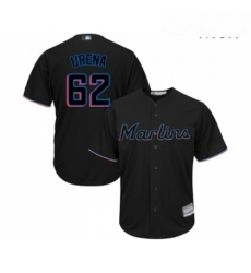 Mens Miami Marlins 62 Jose Urena Replica Black Alternate 2 Cool Base Baseball Jersey