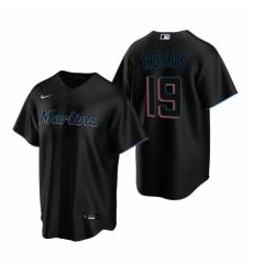 Mens Nike Miami Marlins 19 Miguel Rojas Black Alternate Stitched Baseball Jersey
