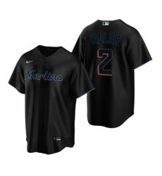 Mens Nike Miami Marlins 2 Jonathan Villar Black Alternate Stitched Baseball Jersey