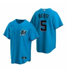 Mens Nike Miami Marlins 5 Jon Berti Blue Alternate Stitched Baseball Jersey
