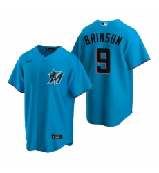 Mens Nike Miami Marlins 9 Lewis Brinson Blue Alternate Stitched Baseball Jersey