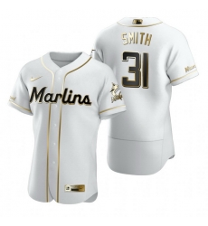 Miami Marlins 31 Caleb Smith White Nike Mens Authentic Golden Edition MLB Jersey
