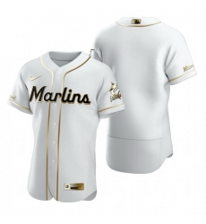 Miami Marlins Blank White Nike Mens Authentic Golden Edition MLB Jersey