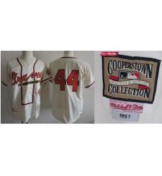 Men Milwaukee Braves 1957 Hank Aaron World Series Jersey