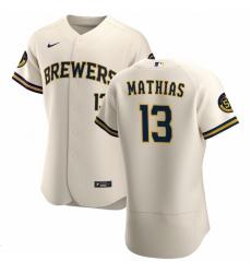 Men Milwaukee Brewers 13 Mark Mathias Men Nike Cream Home 2020 Flex Base Player MLB Jersey