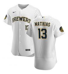 Men Milwaukee Brewers 13 Mark Mathias Men Nike White Home 2020 Flex Base Player MLB Jersey