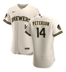 Men Milwaukee Brewers 14 Jace Peterson Men Nike Cream Home 2020 Flex Base Player MLB Jersey