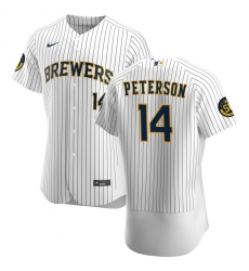 Men Milwaukee Brewers 14 Jace Peterson Men Nike White Home 2020 Flex Base Player MLB Jersey