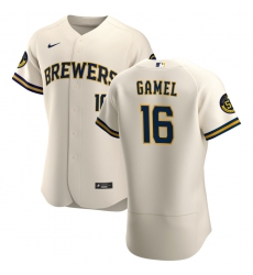 Men Milwaukee Brewers 16 Ben Gamel Men Nike Cream Home 2020 Flex Base Player MLB Jersey