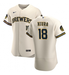 Men Milwaukee Brewers 18 Keston Hiura Men Nike Cream Home 2020 Flex Base Player MLB Jersey