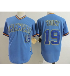 Men Milwaukee Brewers #19 Robin Yount Light Blue Cooperstown Collection Jersey