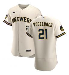 Men Milwaukee Brewers 21 Daniel Vogelbach Men Nike Cream Home 2020 Flex Base Player MLB Jersey
