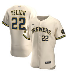 Men Milwaukee Brewers 22 Christian Yelich Men Nike Cream Alternate 2020 Flex Base Player MLB Jersey