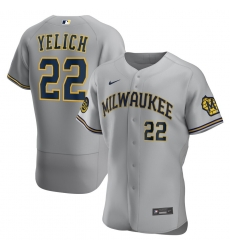 Men Milwaukee Brewers 22 Christian Yelich Men Nike Gray Road 2020 Flex Base Player MLB Jersey