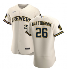 Men Milwaukee Brewers 26 Jacob Nottingham Men Nike Cream Home 2020 Flex Base Player MLB Jersey