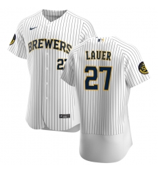 Men Milwaukee Brewers 27 Eric Lauer Men Nike White Home 2020 Flex Base Player MLB Jersey